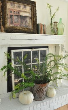 Cozy Fireplace Ideas Will Make You Want to Redecorate Immediately Window sash in front of fireplace. Hoffman McDaniel, heres a good idea for your fireplace!Window sash in front of fireplace. Hoffman McDaniel, heres a good idea for your fireplace! Update Brick Fireplace, Log Burner Fireplace, Fake Fireplace, Fireplace Cover, Farmhouse Fireplace, Fireplace Screens, Fireplace Design, Farmhouse Decor, Fireplace Ideas