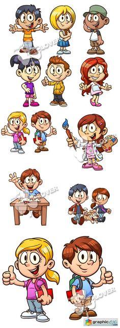 Vector Cute cartoon children 0491