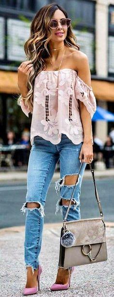 Pink Off The Shoulder Top + Destroyed Skinny Jeans + Pink Pumps.