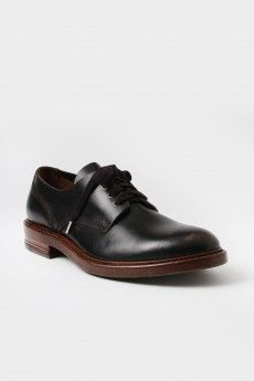 Buttero Scuffed Leather Round Toe Derby Shoes Black