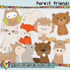 This is a cute set of 10 forest creatures, featuring:  1 deer 1 racoon 1 fox 1 bear 1 beaver 1 hedgehog 1 moose 1 owl 1 rabbit 1 squirrel  I created these for blog designers and other crafters to use in their designs. I love the moose and the deer, which is your favourite?