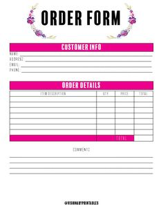 This beautifully designed order form can be used for any type of business. Business Notes, Business Planner, Craft Business, Business Tips, Invoice Template, Business Plan Template, Nota Online, Small Business Organization, Templates Printable Free
