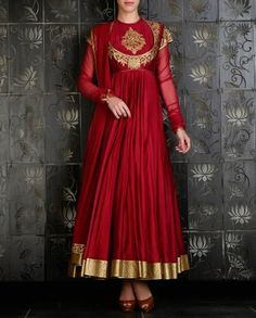 ROHIT BAL: Rust Red Anarkali with Golden Applique Design