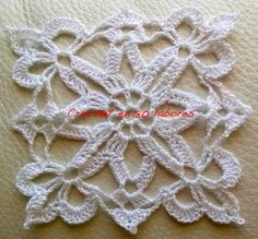 Crochet en 80 labores: Patrón de un aplique blanco de ganchillo