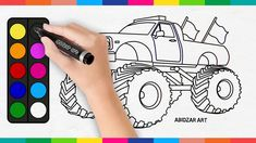 MONSTER TRUCK Drawing & Coloring Video For Kids Toddlers | Abidzar Art