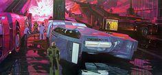 Syd Mead retro-futurism illustrations