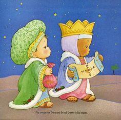 tres reyes de oriente van a adorar el nacimiento del niño