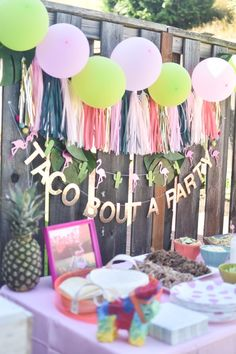 A Flamingesta: a flamingle and a fiesta in one!  Taco bout a party.  Baby girl first birthday party.  Flamingo birthday party.  Hello Baby Brown.