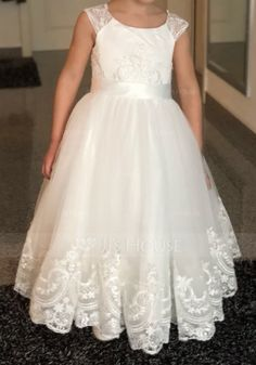 91e8a6318bb A-Line Princess Tea-length Flower Girl Dress - Tulle Sleeveless Scoop Neck  With Lace - JJsHouse