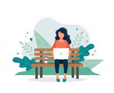 Woman with laptop sitting on the bench i. Website Illustration, Business Illustration, Flat Illustration, Character Illustration, Digital Illustration, Map Design, Vector Design, Vector Art, Bench Drawing