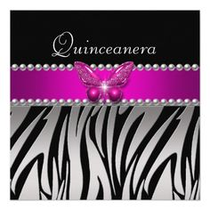 Quinceanera Pink Zebra Silver Black Butterfly Personalized Invite