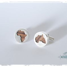 Silver and olive wood africa mens cufflinks by Natasha Wood Jewellery Wood Earrings, Cufflinks, Africa, Jewels, Sterling Silver, Guy, Stuff To Buy, Jewellery, Accessories