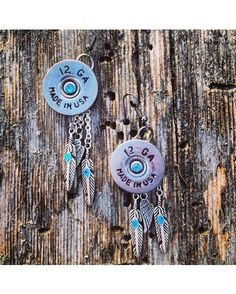 12 Gauge and Feather Earrings - Silver/Turquoise