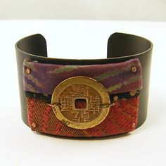 Red Fabric Cuff Bracelet - the front could be a small purse