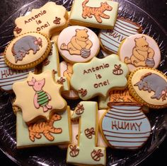 Winnie The Pooh Baby Shower Cookies.Winnie The Pooh Baby Shower Winnie The Pooh Classic, Winnie The Pooh Themes, Winnie The Pooh Birthday, Baby Birthday, 1st Birthday Parties, Birthday Ideas, Birthday Cake, Baby Shower Themes, Baby Boy Shower