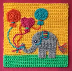 February 2015 Theme – Think like a kid. Another of Anneke's February 2015 Theme – Think like a kid. Another of Anneke's Granny Square Crochet Pattern, Crochet Blocks, Afghan Crochet Patterns, Crochet Squares, Applique Patterns, Crochet Motif, Crochet Stitches, Granny Squares, Crochet Crafts