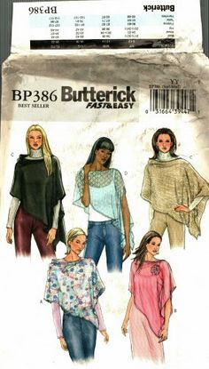 Butterick BP386 Pattern uncut S M 8 10 12 14 Poncho with Flower (sorry, this one has been sold.)