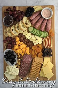Last Minute Entertaining - Simple Meat and Cheese Platter perfect for girls night, game day or holiday entertaining. Last Minute Entertaining - Simple Meat and Cheese Platter perfect for girls night, game day or holiday entertaining. Meat Cheese Platters, Party Food Platters, Meat Platter, Party Trays, Snacks Für Party, Simple Cheese Platter, Wine Cheese, Easy Cheese, Party Games