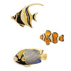 Současná Zlato a smaltované výrobky tropické ryby Brože, H. Kaston, circa 1980