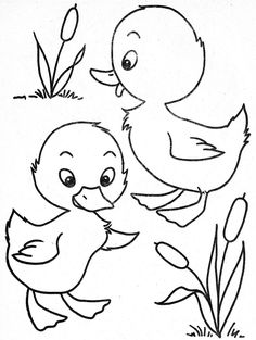 two little ducks coloring page