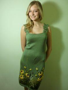Summer sundress Dress Olive sundress Knitted Tops and Dresses Sleeveless Dresses Dress  (99.00 USD) by ViktoriyaSK