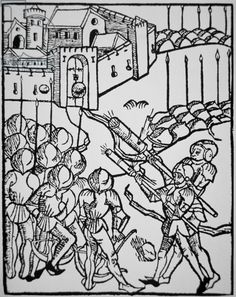 Use of handguns in the 15th century, illustration from the 'Rudicum Novitiorum', 1475 (woodcut)