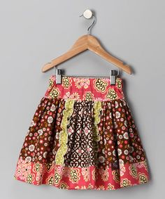 Take a look at this Brown & Green Flower Ruffle Skirt - Toddler & Girls by Three Peas Co & Pink Fig Designs on #zulily today!