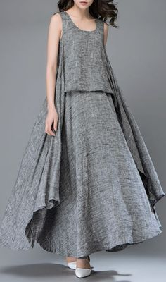 , Gray Linen Dress - Layered Flowing Elegant Long Sleeved Summer Dress with Scoop Neck Handmade Clothing [. , Gray Linen Dress - Layered Flowing Elegant Long Sleeved Summer Dress with Scoop Neck Handmade Cl Women's Dresses, Linen Dresses, Dresses Online, Elegant Dresses, Casual Dresses, Fashion Dresses, Sleeveless Dresses, Loose Dresses, Fashion Clothes