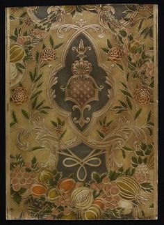 Wallpaper | M. H. Birge & Sons Co. | Portion of embossed wallpaper, suggestive of Spanish leatherwork; A design of metallic panelling with festoons of fruit and other floral decoration, with cartouches containing a dark-coloured diaper-work ground