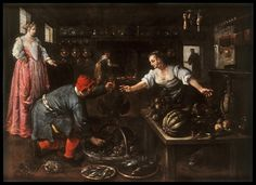 1600 Kitchen Interior, by Dirck de Vries (Netherlandish, active ca. 1592)  De Vries was one of many Netherlandish artists who left his war-torn homeland to come to Venice, where he painted Netherlandish subjects in a Venetian style.