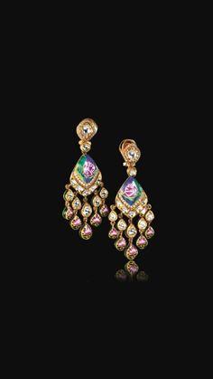 Lotus danglers Enamel Jewelry, Gold Jewelry, Jewelery, India Jewelry, Temple Jewellery, Gold Diamond Earrings, Indian Wedding Jewelry, Indian Earrings, Necklace Designs