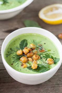Chilled Cucumber-Tahini & Herb Soup with Cumin-Spiced Roasted Chickpeas - Dishing Up the Dirt