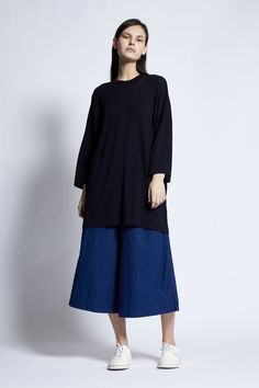 Adrina Oversized Unisex Navy T-Shirt Cotton Bag, Cashmere, Normcore, High Neck Dress, Unisex, Navy, Spring, Fabric, Summer