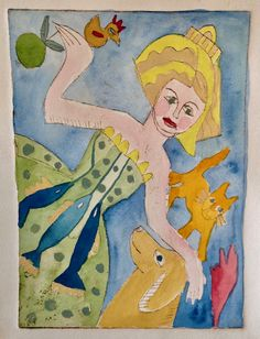 Godess of Abundance#2.Etching with Watercolor.Sine Hjort Dec. 2916