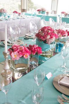 Tiffany Blue Centerpieces | Cute wedding centerpiece in Tiffany blue ...