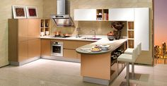 OP14-108: Modern Customized HPL and Acrylic Kitchen Cabinet