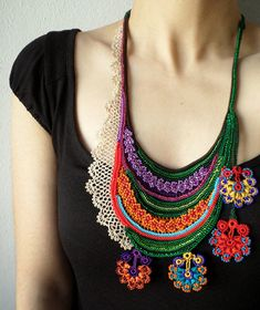 Beaded crochet necklace with colorful flowers and hand crocheted lace in deep red, persimmon, grass green, lilac, turquoise, royal blue