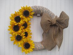 Sunflower & Chevron Burlap Summer Wreath with by DoorDecorMore, $40.00    Like without the chevron design