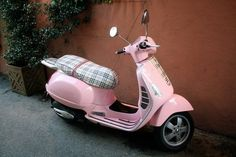 Pink Vespa with Burberry no less <3