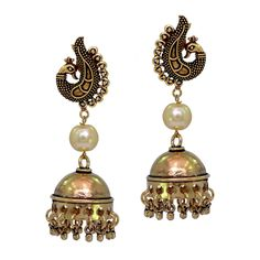 Ethnic Peacock Stud Oxidized Gold Plated Jhumka Earring With Free Shipping     #Unbranded #DropDangle