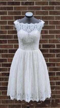 Short Beach Wedding Dress Lace Wedding Dress A Line by TheONLYou, $177.00