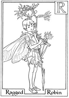 Letter R For Ragged Robin Flower Fairy Coloring Page Fairies Pages Alphabet Free Online