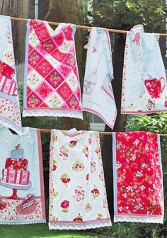 """Making my own """"vintage"""" dishtowels makes all the sense in the world to me.  Love the edging."""