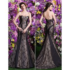 Trumpet/Mermaid Sweetheart Court Train Lace Evening Dress (2436373) – USD $ 399.99