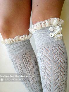 Lacey Dainty Sock - Dove Grey - open-knit socks - chevron herringbone patterned - boot socks - lace socks (item no: Grey Boots, Cute Boots, Kids Fashion, Autumn Fashion, Emo Fashion, Lace Boot Socks, Knitting Socks, Knit Socks, Dress To Impress