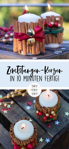 Weihnachtliche Zimtstangen-Kerzen / Deko für Weihnachten / weihnachtliche Dekoration / Weihnachtsdeko / Zimtstangen / Kerzen an Weihnachten / DIY Deko / DIY Weihnachten / selbstgemacht / basteln / selbermachen