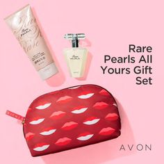 If you are a fan of the Rare Pearls fragrance, this set is for you.  It is valued at $39 and includes the makeup bag, body lotion and eau de parfum spray.  https://www.avon.com/product/rare-pearls-all-yours-gift-set-59964?rep=mrisner