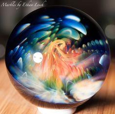 UV REACTIVE HANDMADE MARBLE BY ~ETHAN LESCH~ BOROSILICATE, BORO, ART, MIB #Glass