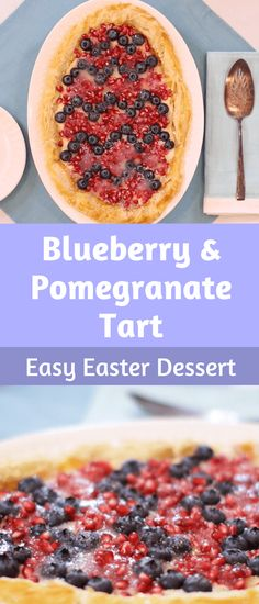 Our favorite kind of recipes are ones that taste delicious and look impressive but are surprisinglyeasy to make. This Easter tart checks all those boxes. It's yummy, festive, and can be whipped up in just 30 minutes! #tart #dessert #easter Easy Easter Desserts, Easter Snacks, Easter Recipes, Holiday Recipes, Healthy Desserts, Healthy Recipes, Pomegranate Dessert, Pomegranate Recipes, Blueberry Recipes