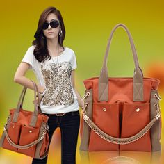 retro causal lady chain inclined bag